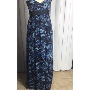 BcbgMaxazria Kai Multi  Blue and Black Maxi Dress
